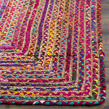 Braided Home Decorative 3 x 5 Ft Cotton Jute Handmade Floor Reversible Rag Rugs