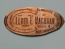 Lloyd E Wagaman Store Card Martinsville Ind Lucky Elongated Penny/Rolled Cent