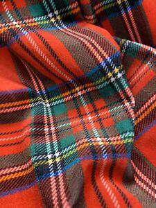 Red Plaid Print On STRETCH VELVET FABRIC BY THE YARD 60'' Wide, Christmas