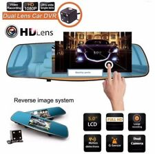 "HD 1080P In-Car Rear View Mirror 5.0"" Monitor Dash Cam Recorder Camera Dual lens"