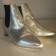 NEW TOPSHOP KRAZY SILVER SNAKESKIN CHELSEA POINTED ANKLE BOOTS SIZE 2.5