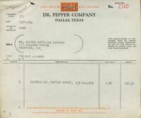 Dr. Pepper 1940 Dallas Texas Invoice to Rockford Illinois Bottling Barrels Syrup