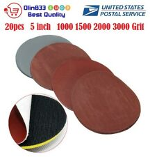 20pcs Hook and Loop 5 Inch 1000 1500 2000 3000 Grit Sand Paper Sanding Discs USA