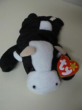Ty Beanie Baby DAISY Plush Black and White Cow with Tan Ears Original