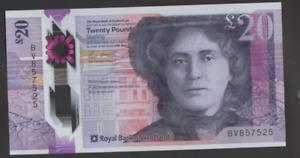 ROYAL BANK SCOTLAND POLYMER £20 UNCIRCULATED PREFIX BV 857525 FREEPOST RECORDED