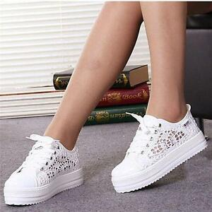 Womens 2018 Hollow Sneaker Summer Lace Up Platform Shoes Comfortable Casual