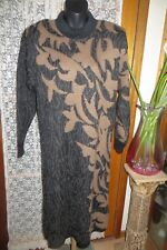 VINTAGE ~ ENIGMA ~ Black/Tan/Grey Knit Jumper DRESS * Size L { 16 } *