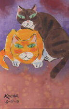 #3430- Brand New Original Watercolor by George Kocar Two Cats