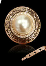 GORGEOUS 18K GOLD PLATED & GENUINE AUSTRIAN CRYSTAL PEARL SCARF CLIP OR BROOCH