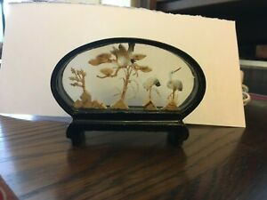 VINTAGE CHINESE HAND MADE SMALL CORK DIORAMA CRANES BLACK LACQUER STAND