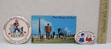 Paul Bunyan Blue Ox Souvenirs 1960 Postcard 1981 1989 Carnival Buttons Lot of 3