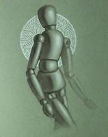 Wooden Figure Drawing on Toned Paper - Original Colored Pencil Artwork