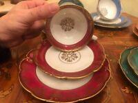 6 cups 6 saucer 5 Plates JLMenau Graf Von Henneberg Porcelain Coffee Set