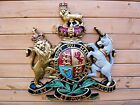 ROYAL COAT OF ARMS VERY LARGE WALL PLAQUE, CREST, WARRANT, QUEEN ELIZABETH