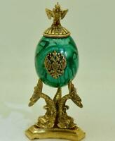 Rare antique Imperial Russian Khlebnikov Malachite &gild silver Easter Egg c1891