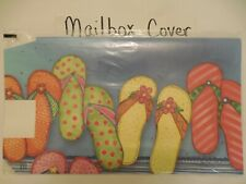 New listing Magnetic Mailbox Cover Colorful Summer Flip Flops, Beach, Pool, Ocean on Blue