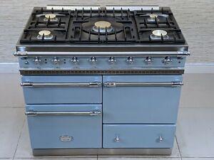 LACANCHE MACON 100CM DUAL FUEL RANGE COOKER IN PALE BLUE & CHROME  A521