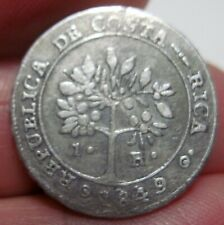 1849 (COSTA RICA) 1 REAL (SILVER)  - DOUBLE  DATE--