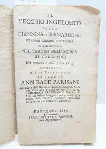 Teatro Il vecchio ingelosito ossia Giannina e Bernardone dramma giocoso 1805