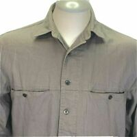 Levis Mens Shirt M Brown Chambray Button Up Long Sleeve Elbow Patches