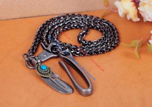 "30"" Biker Trucker Basic Strong Twisted Keychain Key Jean Wallet Chain Feather"