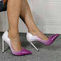 Womens Mixed Colors Purple Pointed Toe Stilettos High Slim Heels Fashion Shoes
