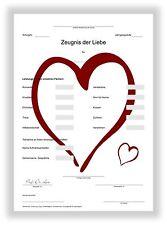 Zeugnis Liebeszeugnis Geschenkidee Valentinstag Liebesgeschenk I LOVE YOU NEU