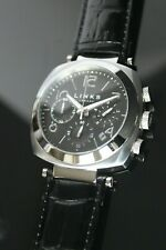 Links of London Brand New Men's Black Leather Black Dial Chronograph Watch