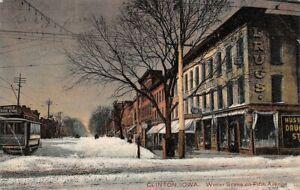 Winter Scene on Fifth Avenue Clinton Iowa 62 Hurd's Book Store