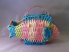 Fish Pocketbook Purse Straw Blue Yellow Pink Green with Beads Very Nice -  WOW !