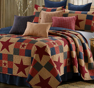 MOUNTAIN CABIN RED STAR 3p Full / Queen QUILT SET : NINEPATCH PRIMITIVE COUNTRY