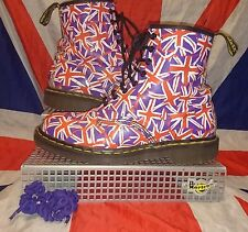 England Made*Rare*Red & Purple Union Jack Dr Martens*Flag*Quirky*Punk*Grunge*8