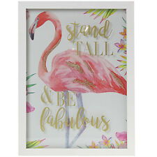 Pink Flamingo Word Quote Animal Picture Wall Hanging Art Home Office Decoration
