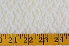 WHITE  FLORAL LACE 2 WAY STRETCH  100%  POLYESTER FABRIC  29X48 INCHES