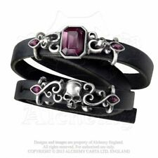Genuine Alchemy Gothic Leather Pirate Princess Wrap Bracelet Ladies Fashion Skul