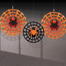 3 Negro Naranja Surtidos Fiesta De Halloween Papel Colgante Ventilador Decoraciones Spider Web