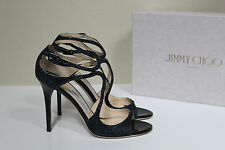 New sz 9 / 39 Jimmy Choo Lang Strappy Navy Ink Blue Glitter Ankle Sandals Shoes