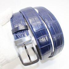 Blue Genuine Alligator, Crocodile Leather Skin Men's Belt, Without Jointed