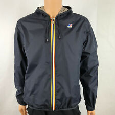 K-Way Jacques Plus Double Reversible Waterproof Jacket Navy Blue Gray Mens XL