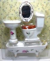 1/12 Dollhouse Miniature Furniture Porcelain Bathroom Set Toilet Bathtub Basin