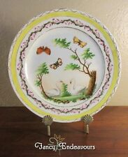 18th Century Sevres France Style Hand Painted Plate Butterfly Moth Swans Trees