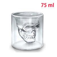 Crystal Skull Head Vodka Shot Glass Wine Bar Cup 2.5 Ounces / 75ml