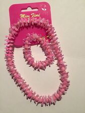 MISS fiori.necklace & Bracciale set.pink. FIORI & beads.pretty.elastic.gift.new