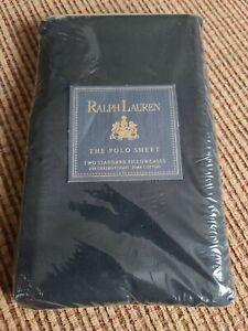 NEW VINTAGE 1995 RALPH LAUREN THE POLO SHEET 2 STANDARD PILLOWCASES BLACK RARE