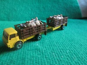 MATCHBOX DODGE CATTLE TRUCK & TRAILER WITH CATTLE (LOT H64)