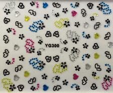 Nail Art 3D Decal Stickers Twin Dotted Hearts & Flowers XF251 YG300