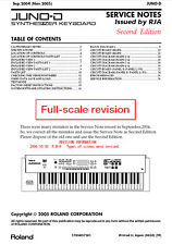 ROLAND JUNO-D Repair / Service MANUAL -Book only