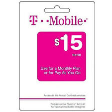 T-Mobile Pay As You Go Phone Refill Card $15