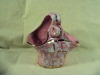 Vintage Shafer Basket Vase Planter 23K Gold Guaranteed, Pink W/Gold Trim