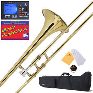 Mendini Gold Lacquered Bb Slide Trombone for School Band +Tuner+Case+ Mouthpiece